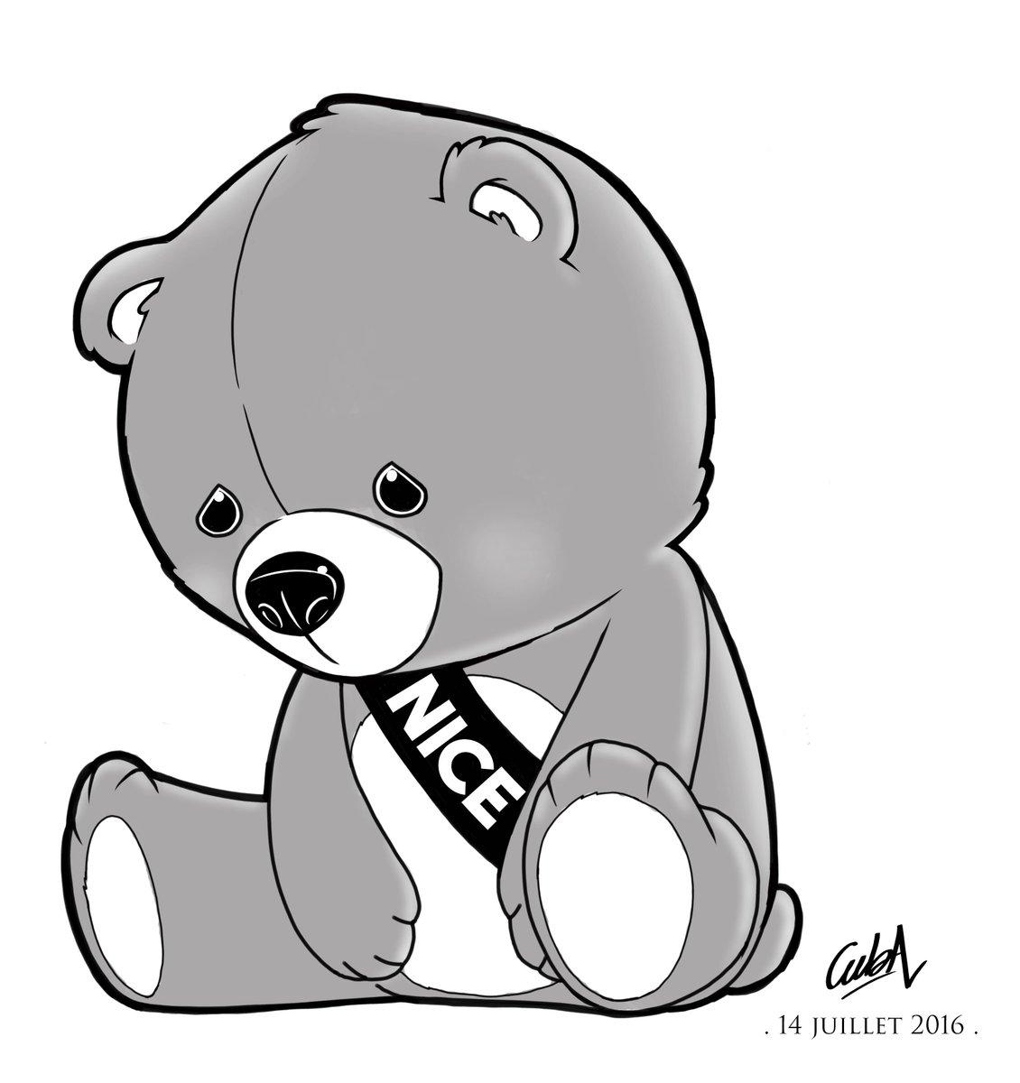 Dessin hommage l 39 ours en peluche de cedric nagau pour banlieuesc qui symbolise les enfants - Dessin ours en peluche ...