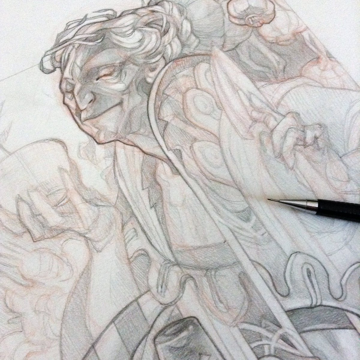 Wylie beckert on twitter from the process tutorial for the queen of spades https t co jzqra8anfp pencil drawing over rough col erase