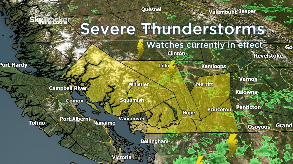 Severe t-storm watches in effect. Storms may produce large hail, strong winds & torrential rainfall. @GlobalBC @BC1 https://t.co/l5nIDNM807