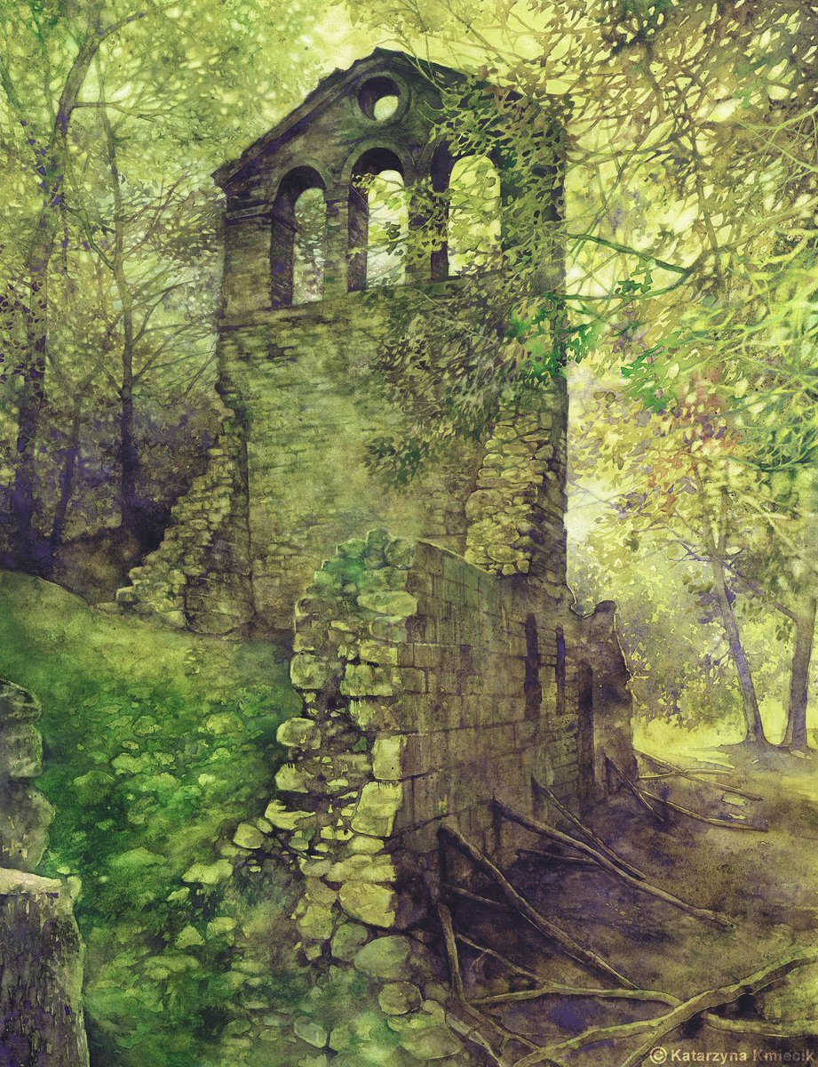 water color ruins