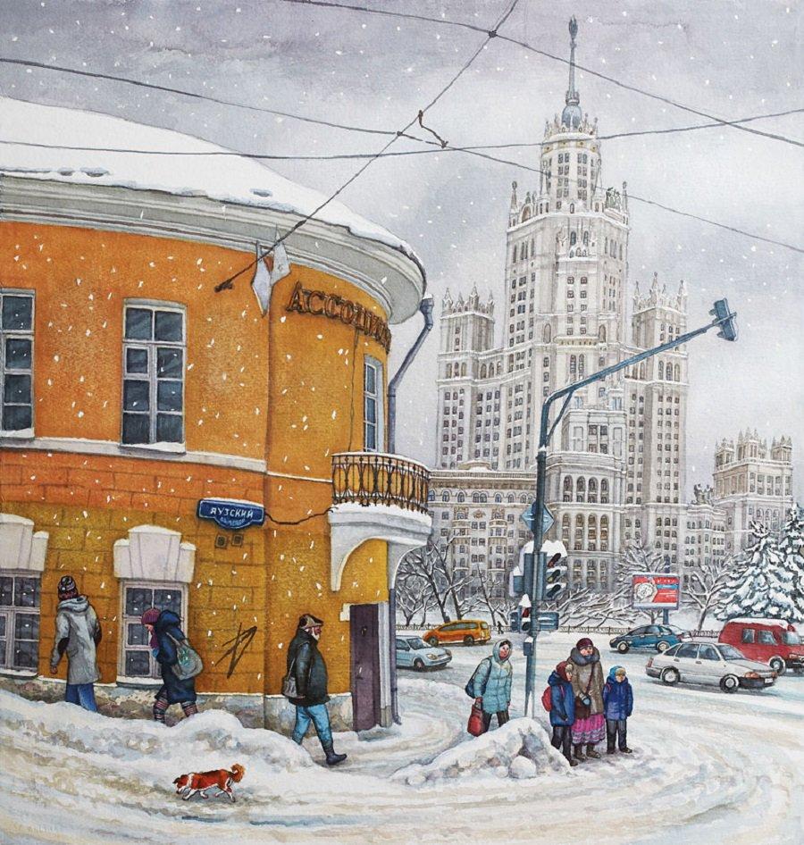 Советский город рисунок