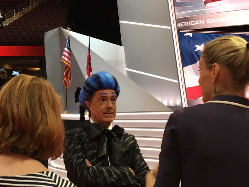 Stephen #Colbert on #RNCinCLE convention floor as Flickerman from Hunger Games #RNC2016 https://t.co/VdwvC5U60a