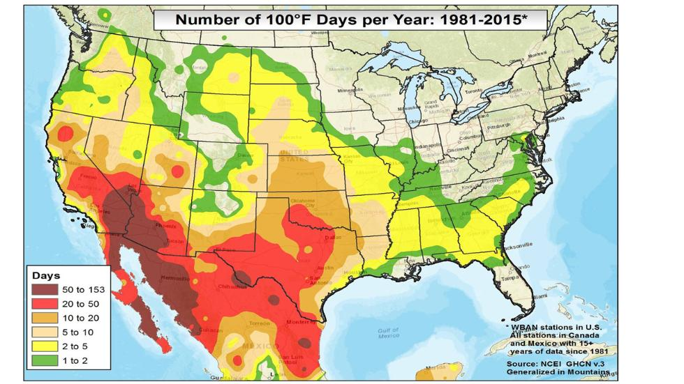 Number of 100F days on average US map recorded temperature