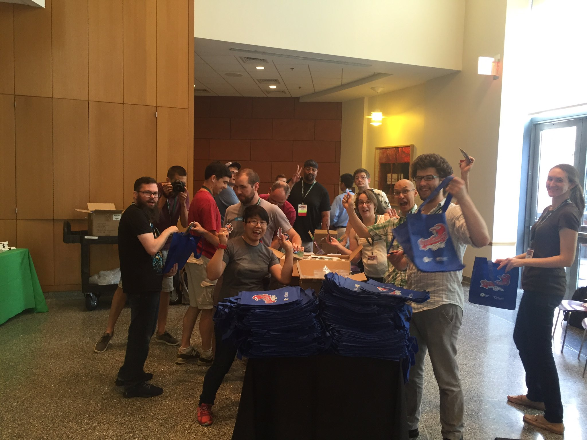 Bag stuffing at @djangocon! https://t.co/LxI9WvjHQV