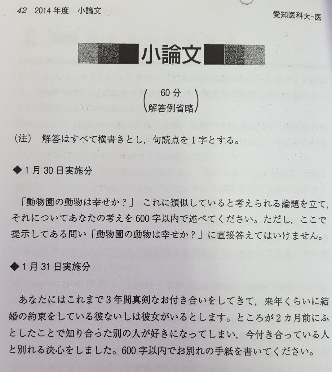 愛知医科大学 小論文 問題