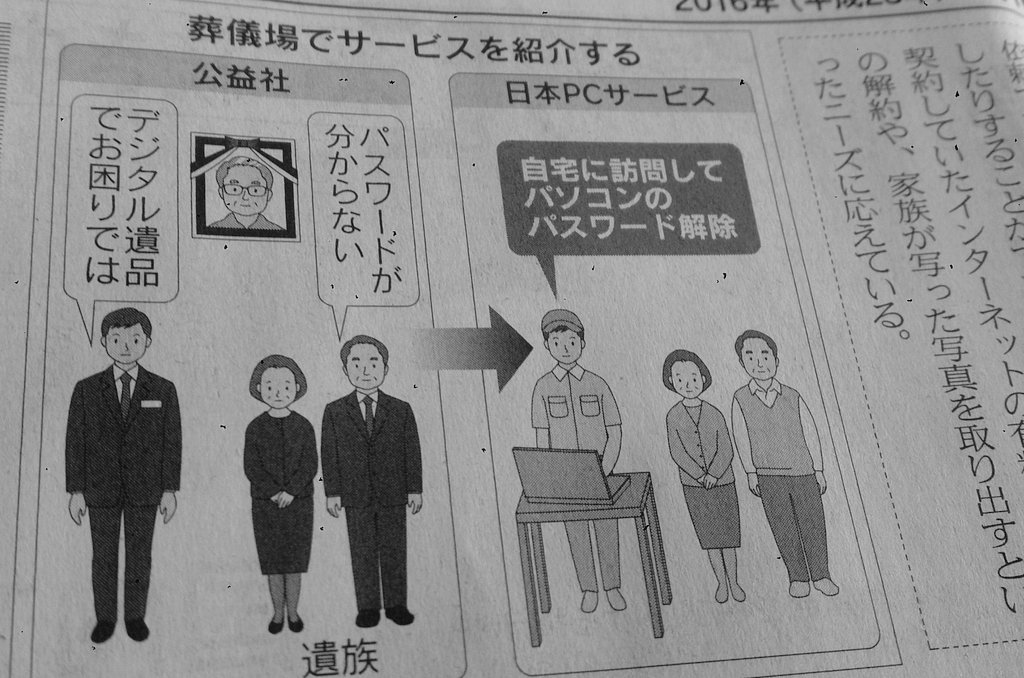 【18日付 MJから】故人がSNSなどに遺したデータを整理する「デジタル遺品」サービスを、日本PCサービス社やデータサルベージ社が提供。アカウント削除やネット銀行の解約が多く、家族の思い出写真発掘もあるそうです。ネットライフ面です。