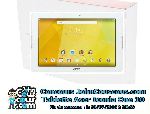 Follow + RT avant le 31/07, pour gagner une tablette Acer Iconia One 10 blanche (16 Go) ! #concours https://t.co/OJ00e0dEqF