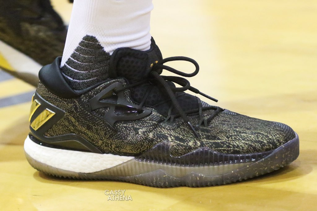 newest 0245f 77b52 ... cheap james harden laced up the adidas crazylight boost 2016 gold medal  game at the 07504 ...