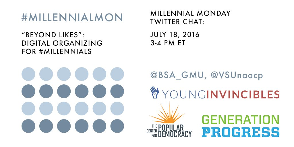Join us TODAY @ 3pm ET for a #MillennialMon on #DigitalOrganizing! https://t.co/HhBlE66tyt