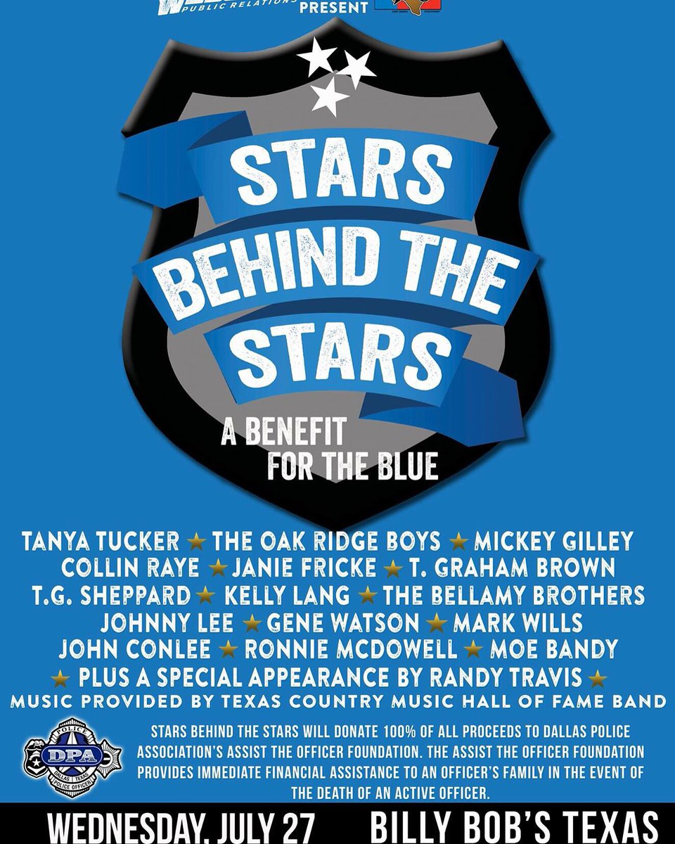 July 27, Billy Bobs Texas, Ft Worth, benefitting Dallas Police & families. https://t.co/PD7Uz1Tg4p