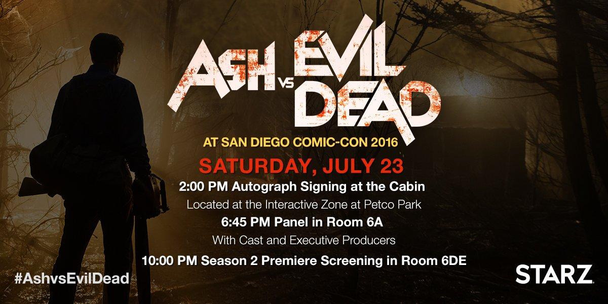 Ash vs Evil Dead San Diego Comic Con 2016 Schedule