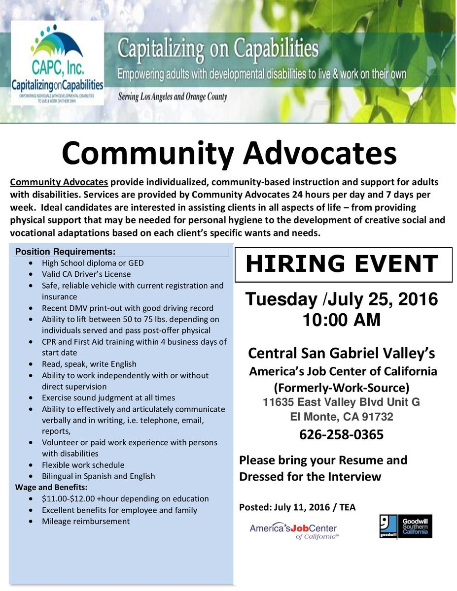 If you're near San Gabriel Valley and in need of employment, look no further! Hiring Event 7-25-16 #careers #jobs