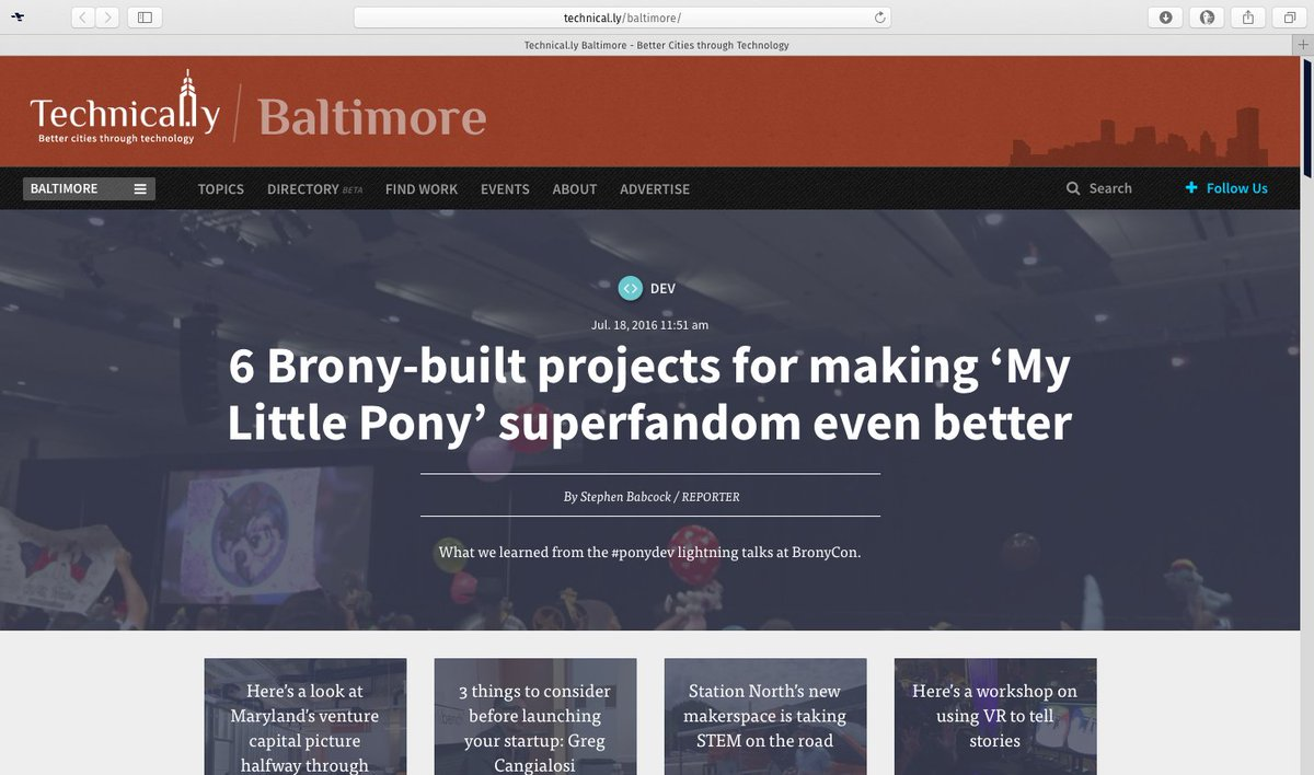 my @bronycon panel is on the front page of @technical_ly baltimore, this is amazing: https://t.co/vbwsqeFZg3 https://t.co/DeCv7loQi9