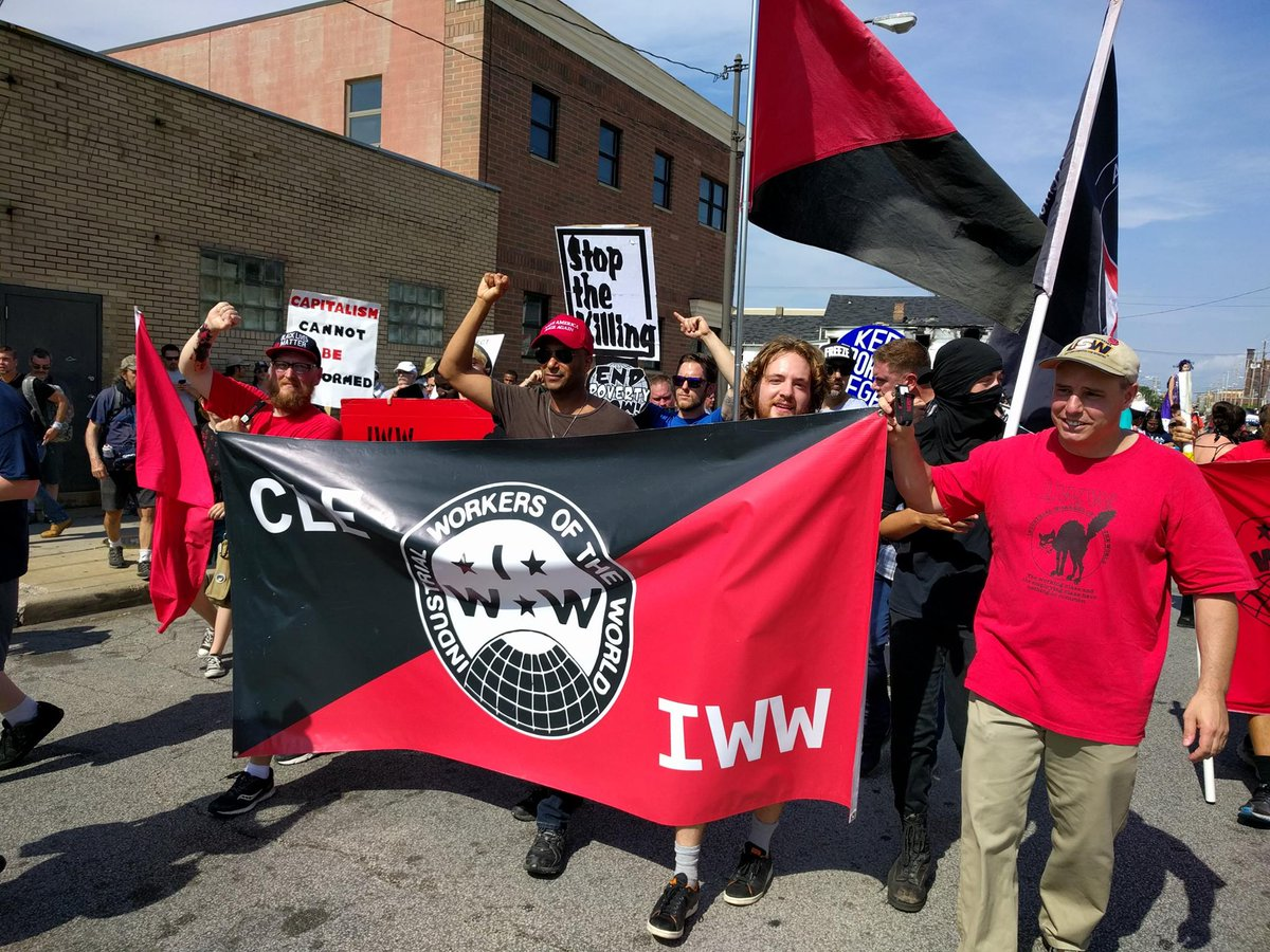 Fellow Worker @tmorello on the march w/ comrades of the Northeast Ohio #IWW protesting the awful #RNCinCLE today https://t.co/IKess1Lc5m