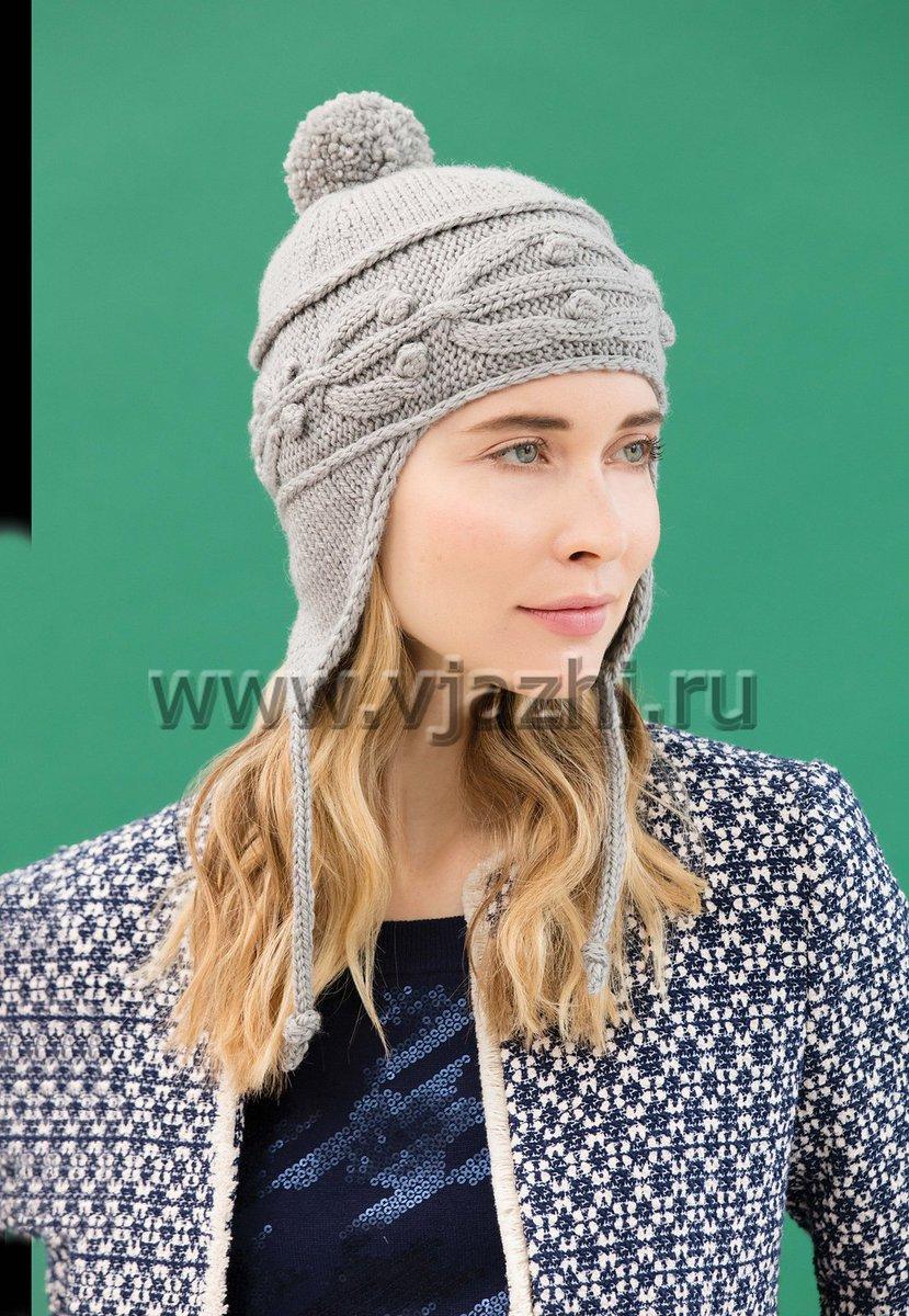 женская вязаная шапка с помпоном из натурального меха купить