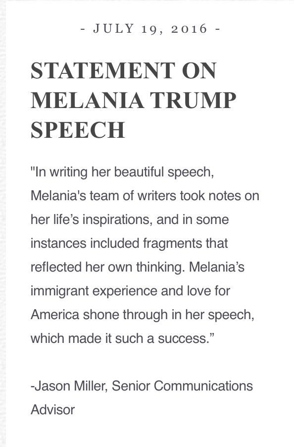 Statement on Melania Trump Speech https://t.co/80KgS0jxXz