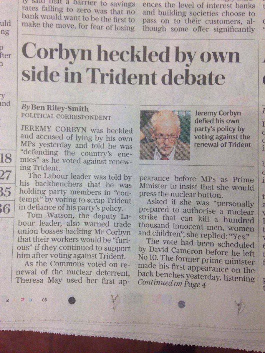 'So, Theresa May has admitted she'd happily nuke children. What headline shall we go with?' https://t.co/SSYIl9XS8F