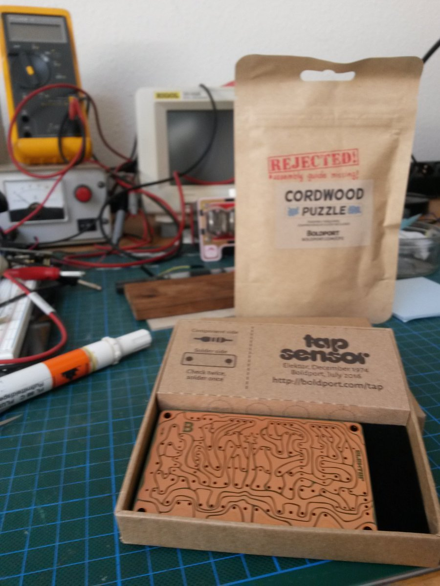 Latest @boldport tap project is here in Germany along with cordwood puzzle #boldportclub