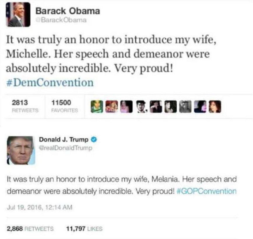 In reference to Donald Trump's wife  Melania plagerising Michelle Obama's speech, I'll just put this right here. https://t.co/hFQXdqb0Wy