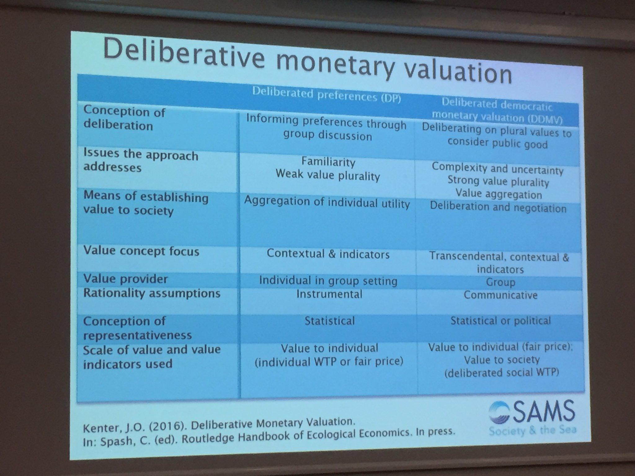 Jasper Kenter contrasts Deliberative Preferences vs Deliberated Democratic Monetary Valuation #ValPart16 https://t.co/nDqvU3Wsyn
