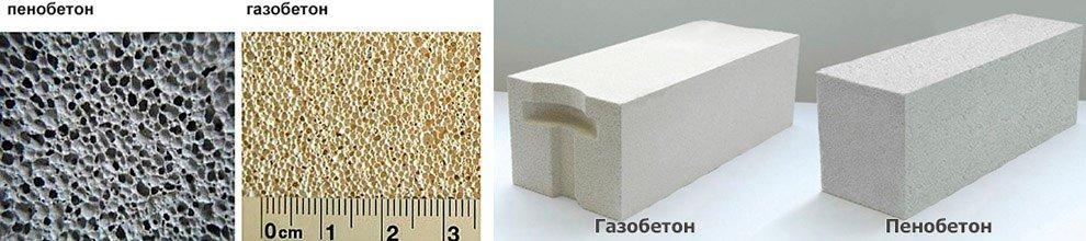 газобетонные и пенобетонные блоки отличия