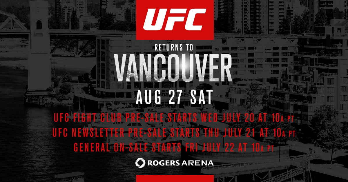 TOMORROW at 10amPT Ultimate & Elite members get 1st access to #UFCVancouver tix! https://t.co/p2ylvtg8a6 https://t.co/qWqxD8J2qq