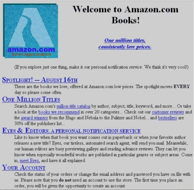 This is what Amazon's homepage looked like when it launched in July 1995 https://t.co/RxxpQneUW4 via @annequito https://t.co/Vbkxn3r8I9