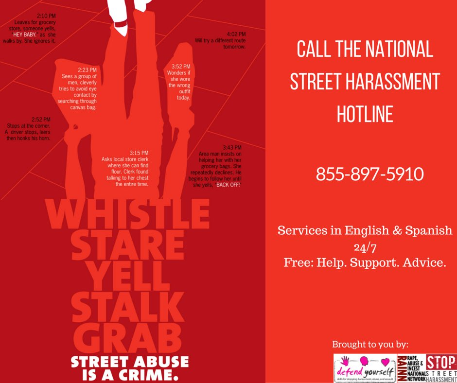 It's here!! The national #streetharassment hotline launches NOW! 855-897-5910. Please share. #endsh https://t.co/EmLJ8xUVrL