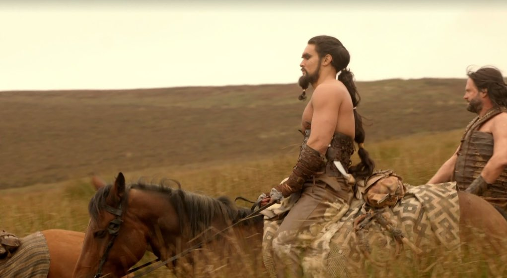 Gratuitous shot of Khal Drogo smoldering while on horseback. I love that he basically wears a leather corset. https://t.co/dB5nr39TmE