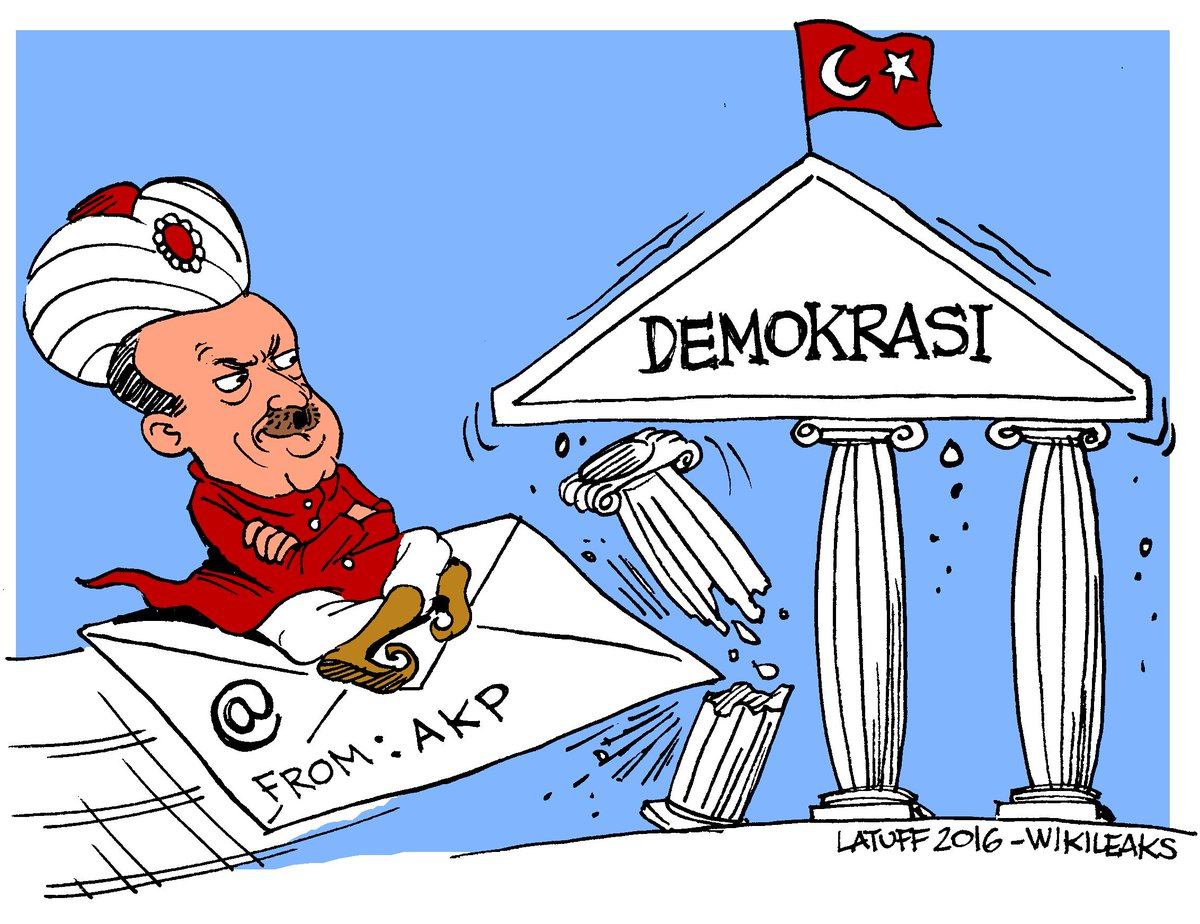 Erdogan and his AKP party attack democracy in Turkey, cartoon