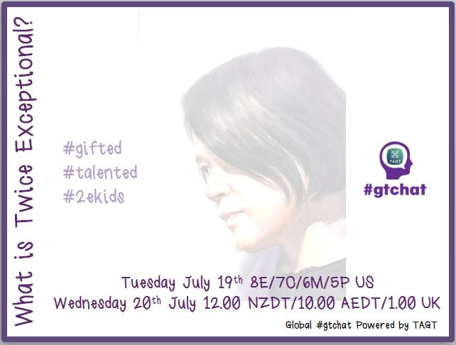 "T-10 till #gtchat - Today we'll be chatting about ""What is Twice Exceptional?"" #TAGT #NAGC #SENG16 #2ekids https://t.co/o9ZqgGcP84"