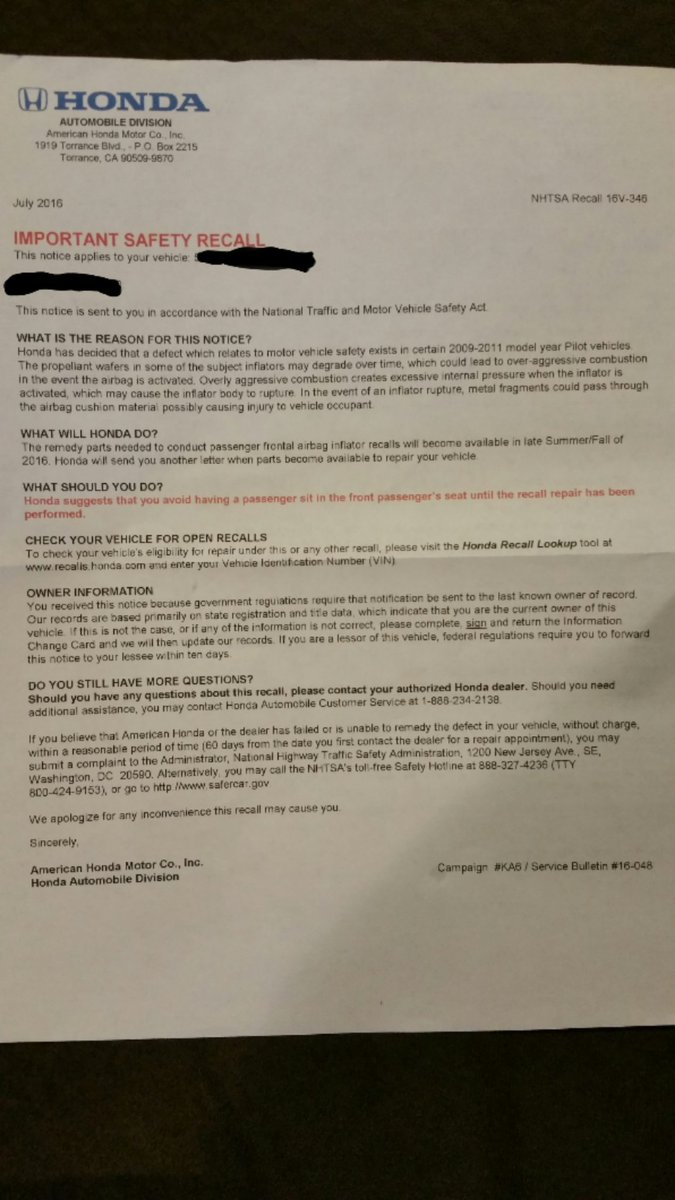 Rusty Kiolbassa On Twitter This Is A Frightening Recall For Letter My Roommate Got From Hondawhat Are You Gonna Do About It Scary Honda
