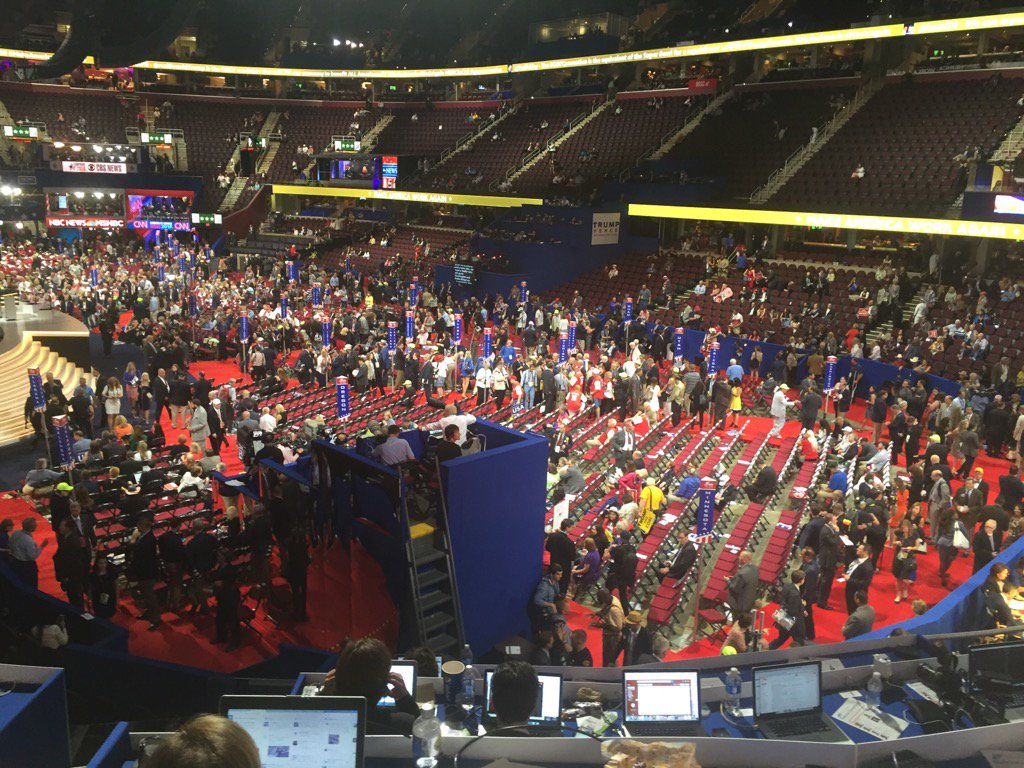 Trump convention planners are doing something wrong.  This is a primetime shot of the hall. Empty. https://t.co/q2vXXLjQSw