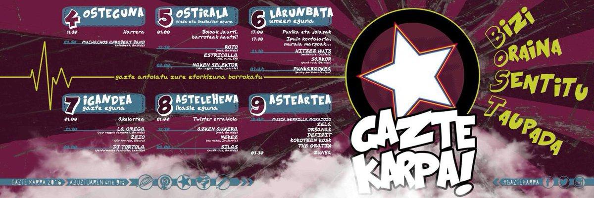 Gasteizko @GazteKarpa -k aurtengo programazioa aurkeztu du!!! #GazteKarpa #GasteizkoTxosnak #Entxosnatu