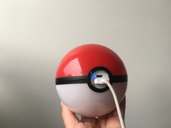 Pokeball Charger: A Wearable attachable external battery pack in the shape of a Pokeball