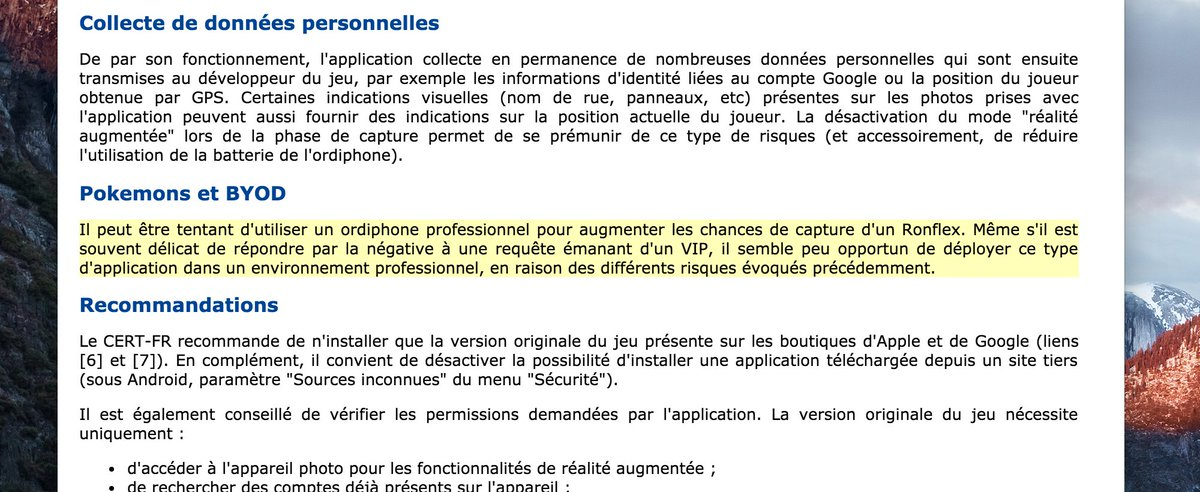 L'@ANSSI_FR déconseille l'usage de Pokemon Go sur les ordiphones pro.   via @Jehane_fr https://t.co/tRr4Fs4pOS https://t.co/AokrgBM83j
