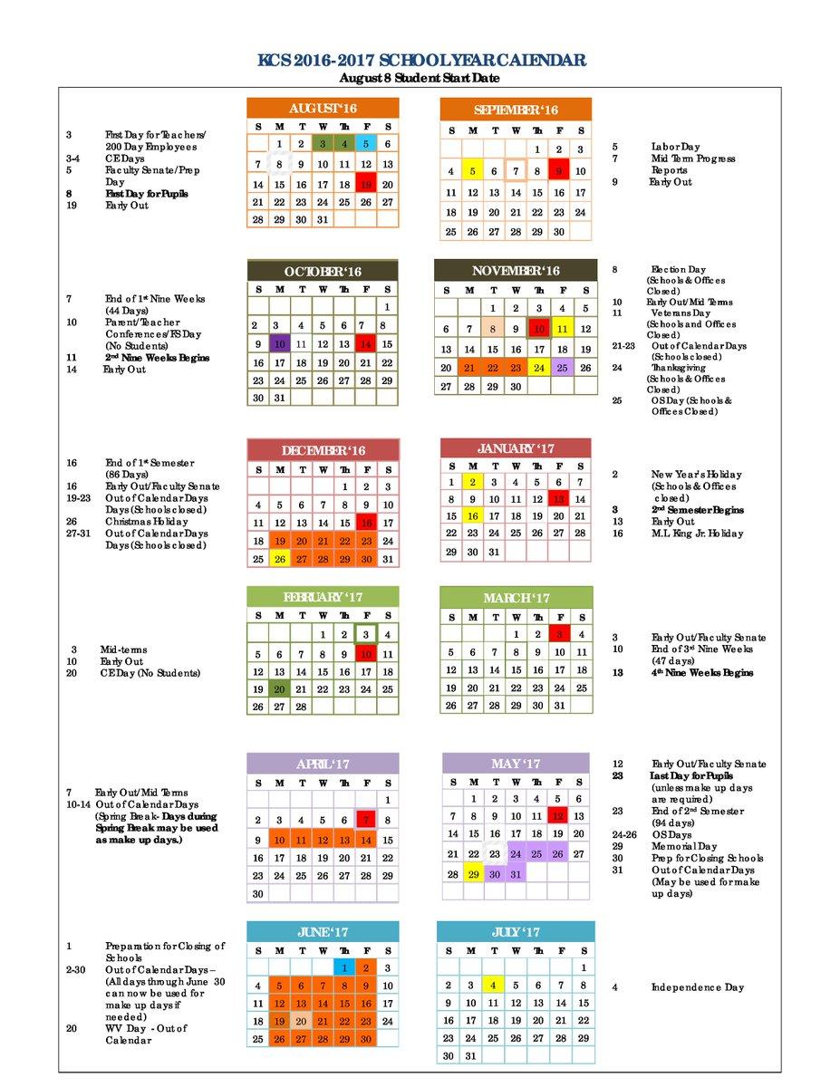 Kanawha County On Twitter Kcs 2016 2017 School Year Calendar