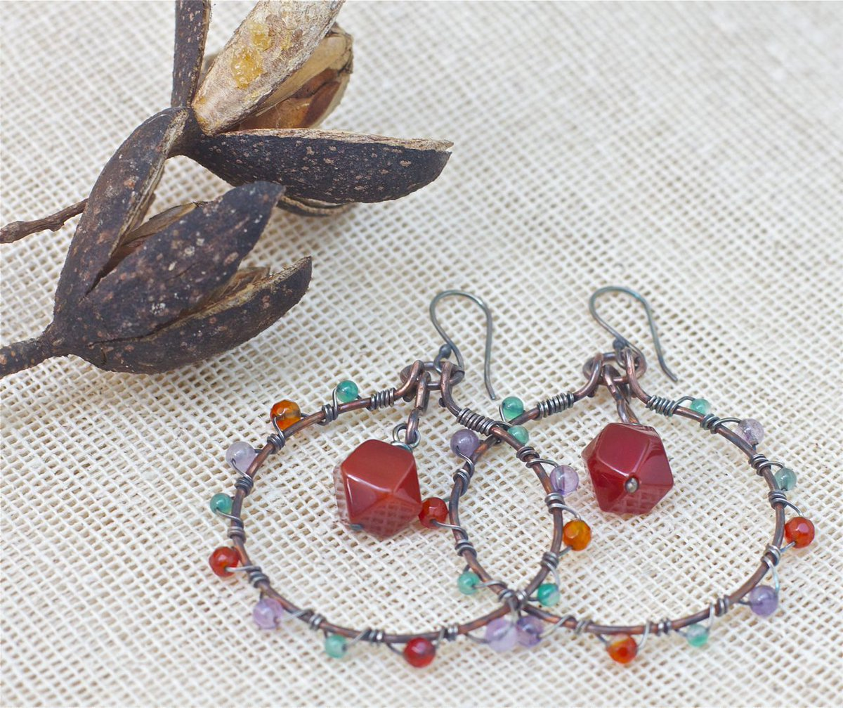 Hoop earrings, Large hoop earrings, Gypsy earrings, Large hoops, Bohemian earrings, Natural stone earrings, Gemstone earrings Large earrings