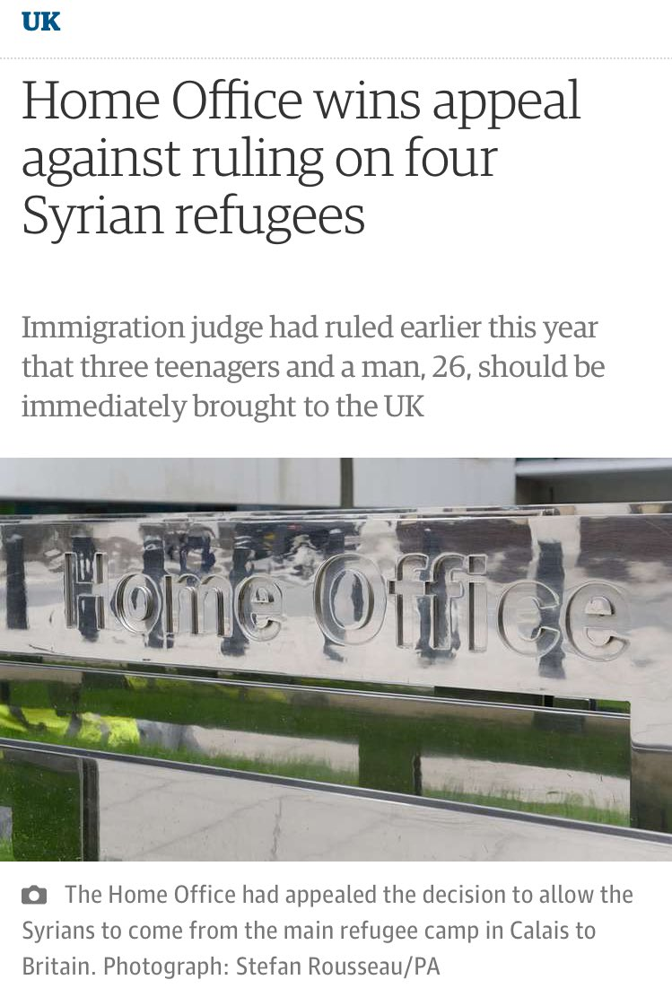 """Home Office minister: """"What am I most proud of? Probably getting the court to keep vulnerable refugee kids in camps"""" https://t.co/ncch3eUyvZ"""