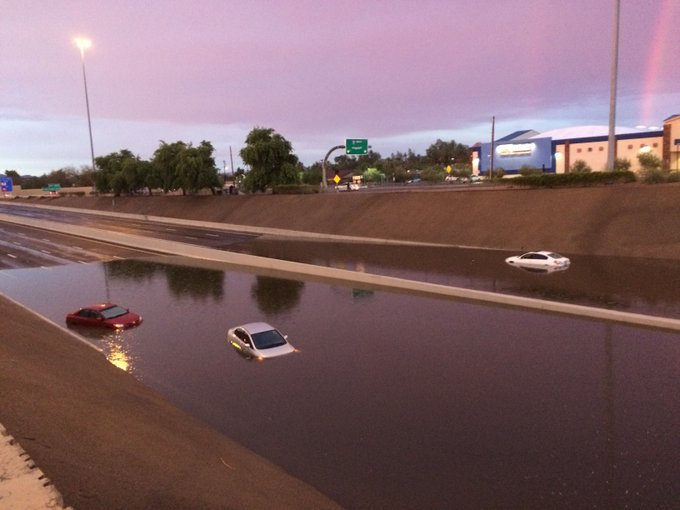 Photos from I-17 and Indian School, where floodwater has closed the highway in both directions. #phxtraffic #azwx