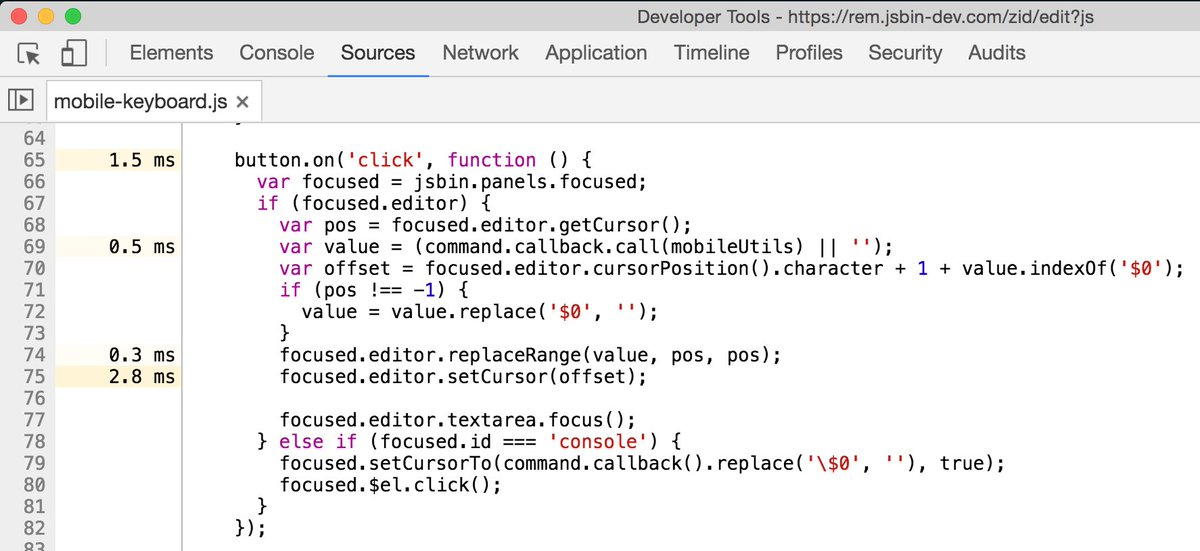 Ooh, this is new in devtools. I ran a profile with JS enabled, and it put the timings directly into the source panel https://t.co/7u5eUm0Lxl