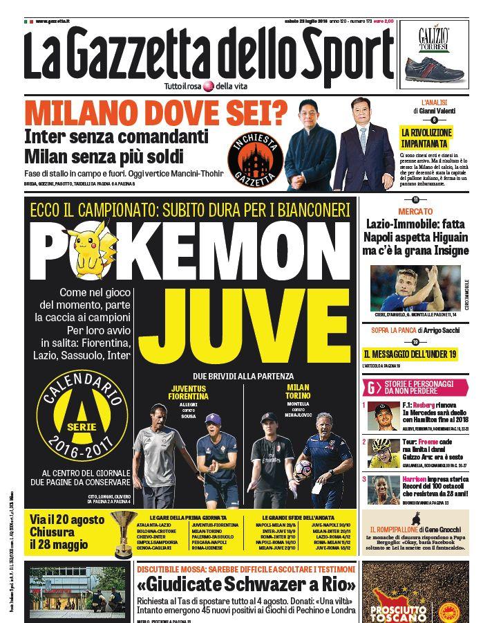 Gazzetta Calendario Serie A.Prima Pagina Gazzetta Napoli Aspetta Higuain Ma C E La