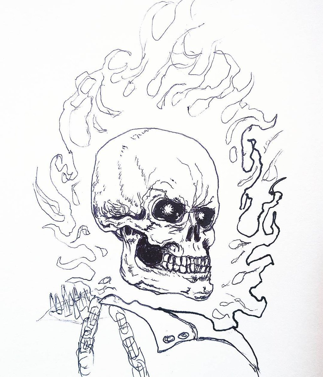 What do you think of this #GhostRider drawing of mine? #illustration #Marvel #SKULL #blackandwhite #patreon https://t.co/DJMsBNMraq
