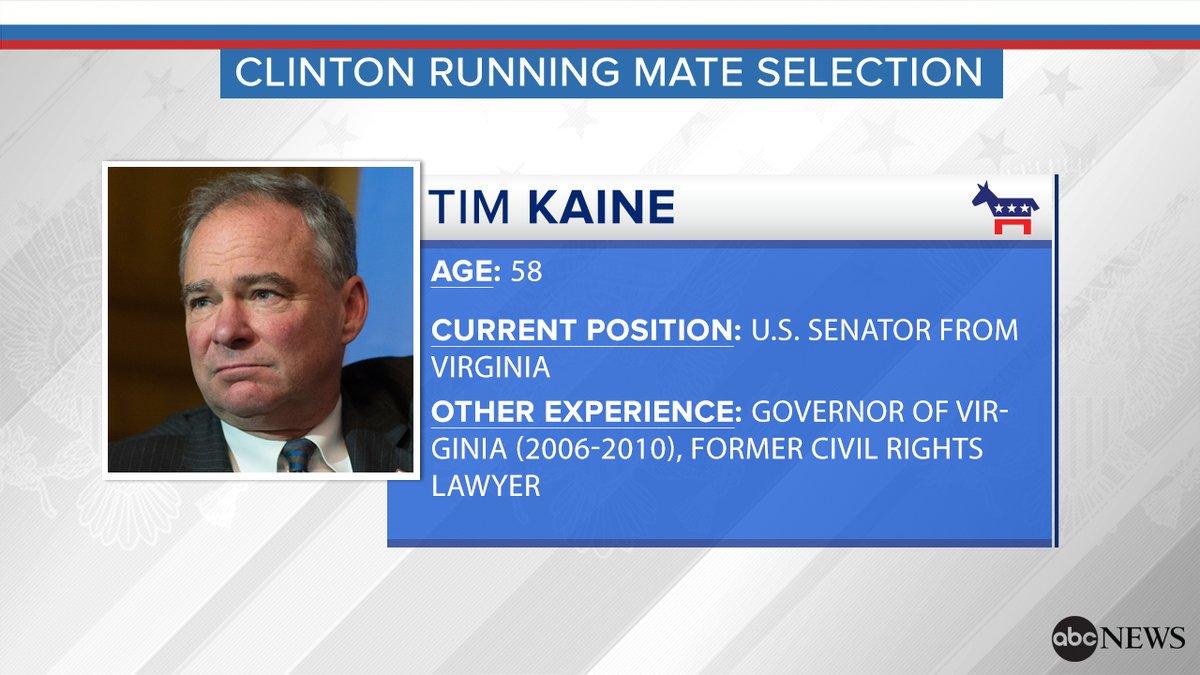 Hillary Clinton announces Tim Kaine as her running mate.