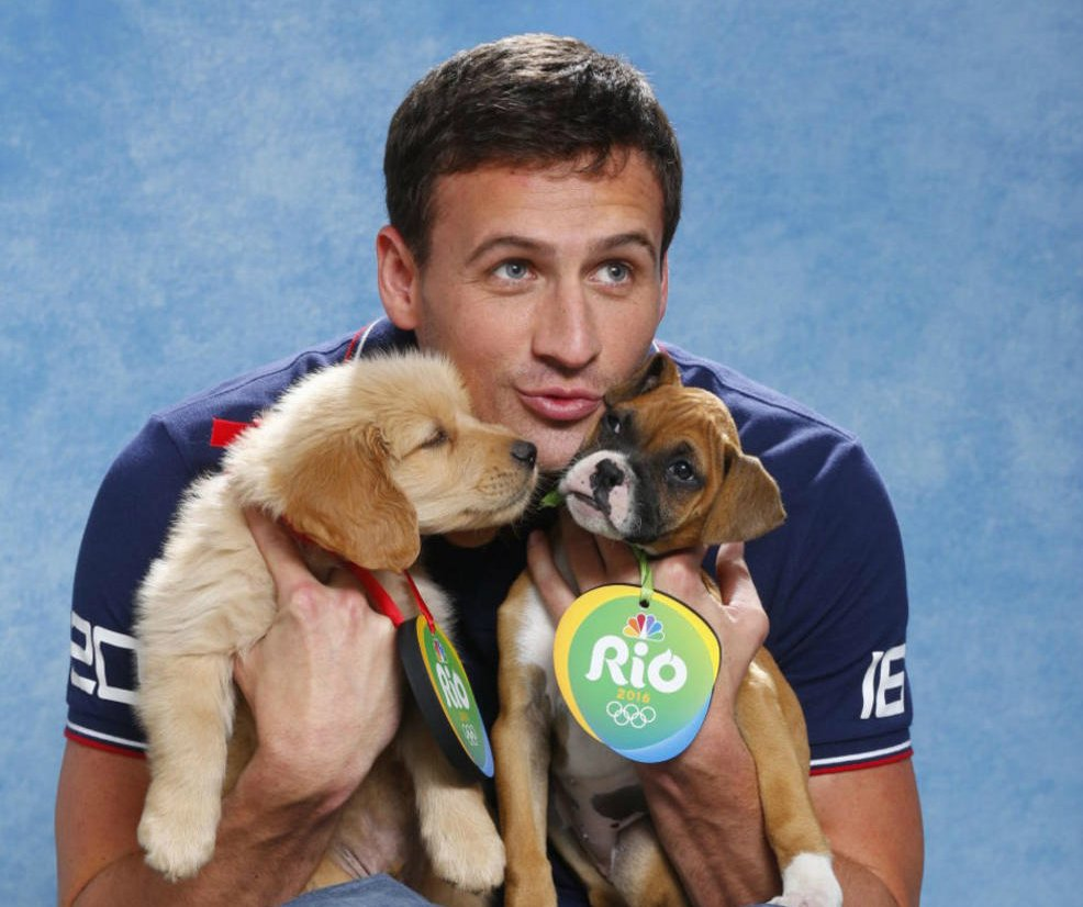 Olympic athletes play with pups ahead of the 2016 Rio games: ClearTheShelters