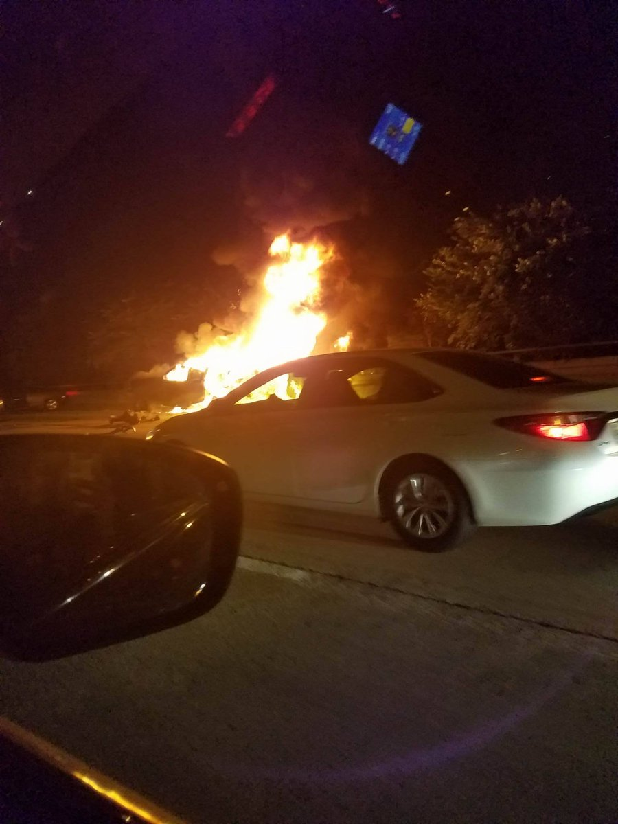 TRAFFIC ALERT: A vehicle is burning in the two right lanes of Beltway 8 North at JFK Blvd.