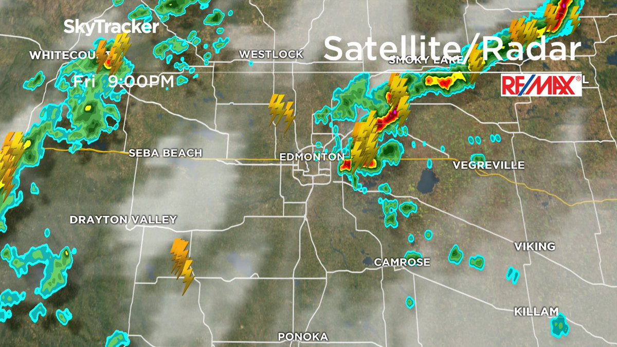 RADAR: Scattered thundershowers continue to move E through central AB. Another band to the W headed our way. yegwx