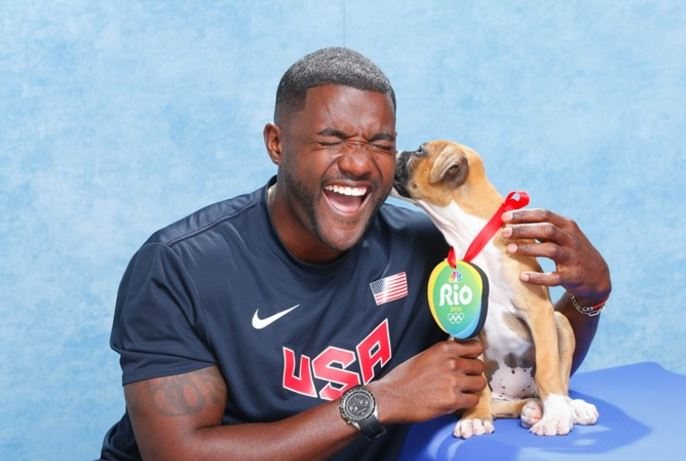 U.S. Olympians with puppies