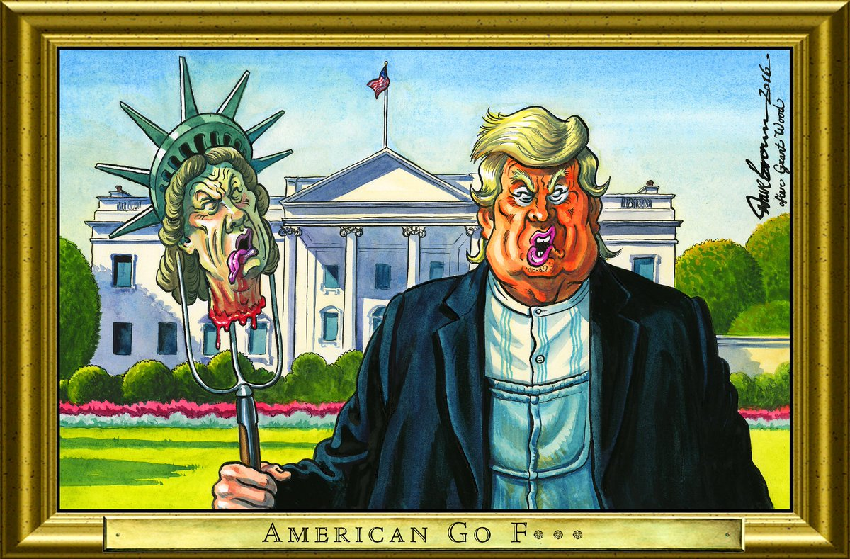 Dave Brown On Twitter My RoguesGallery Cartoon For Todays Independent After Grant Woods American Gothic Trump