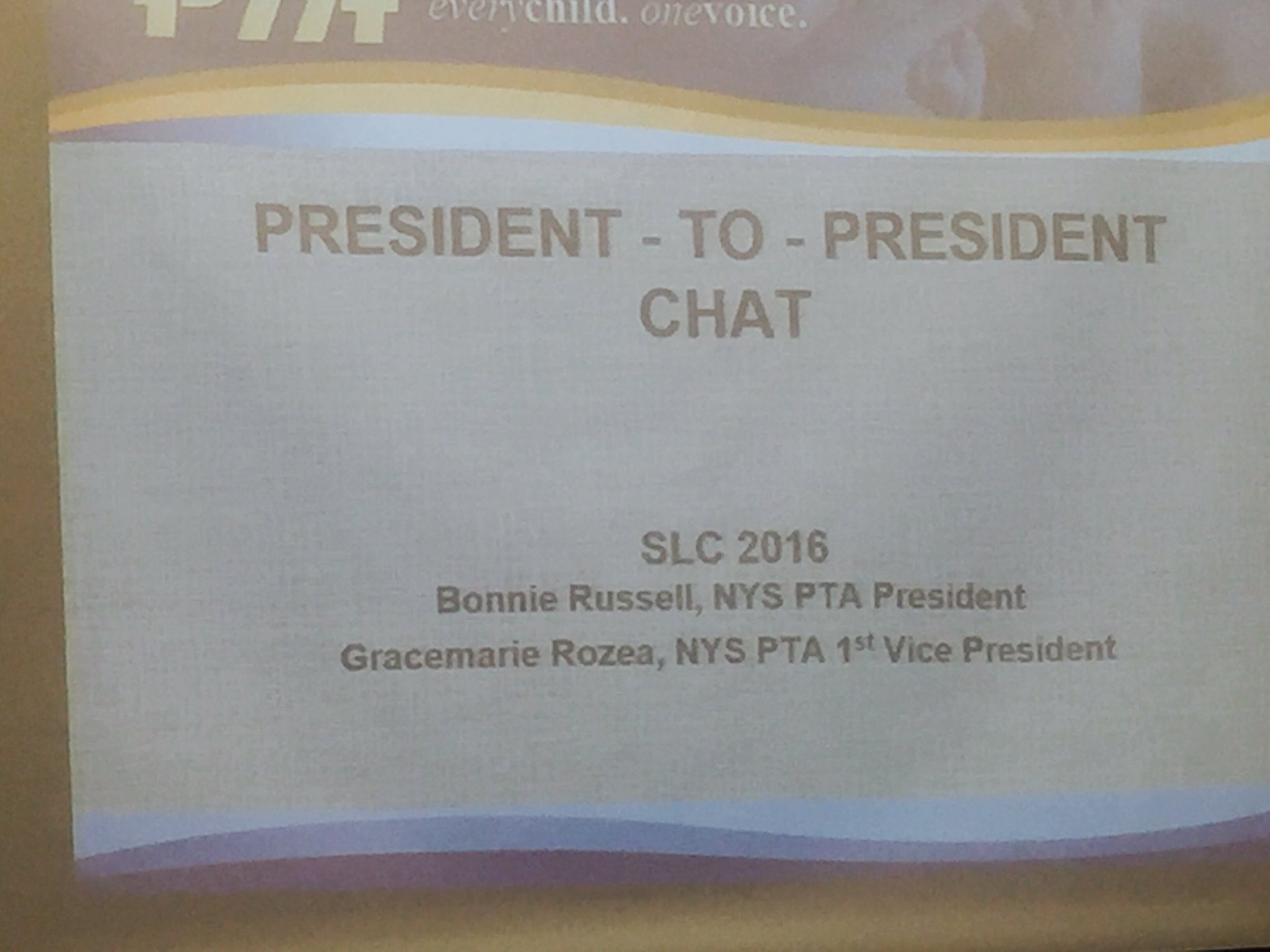 Day 2 of SLC - Awesome  Informal chat with @NYSPTA president Bonnie Russell #NYSPTASLC16 https://t.co/FWPs4iZOGT